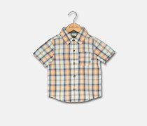 Toddler Boys Plaid Woven Shirt, Orange Combo