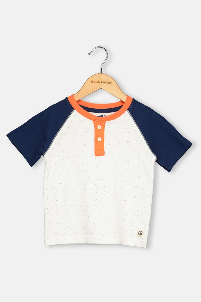 Toddlers Boy Textured Pattern Tops, Navy/Orange/Off white