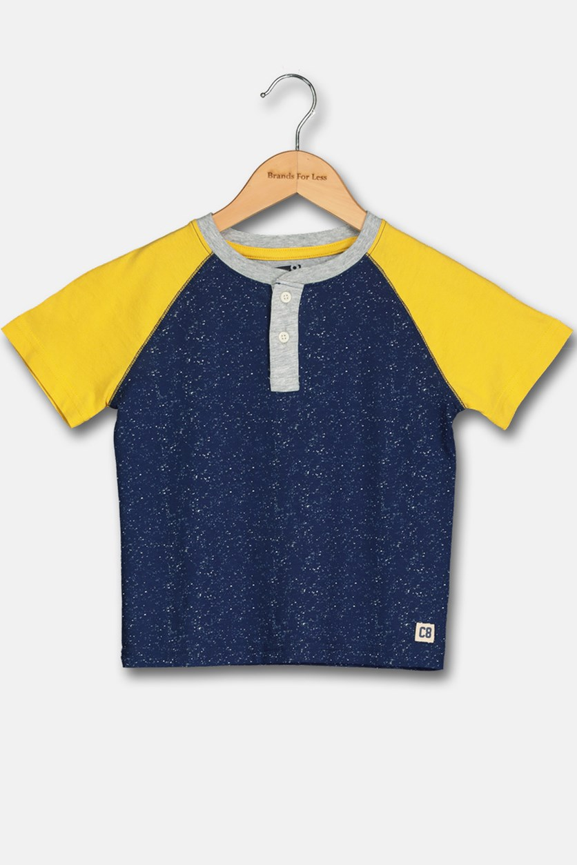 Toddler Boys Raglan Shirt, Navy/Yellow