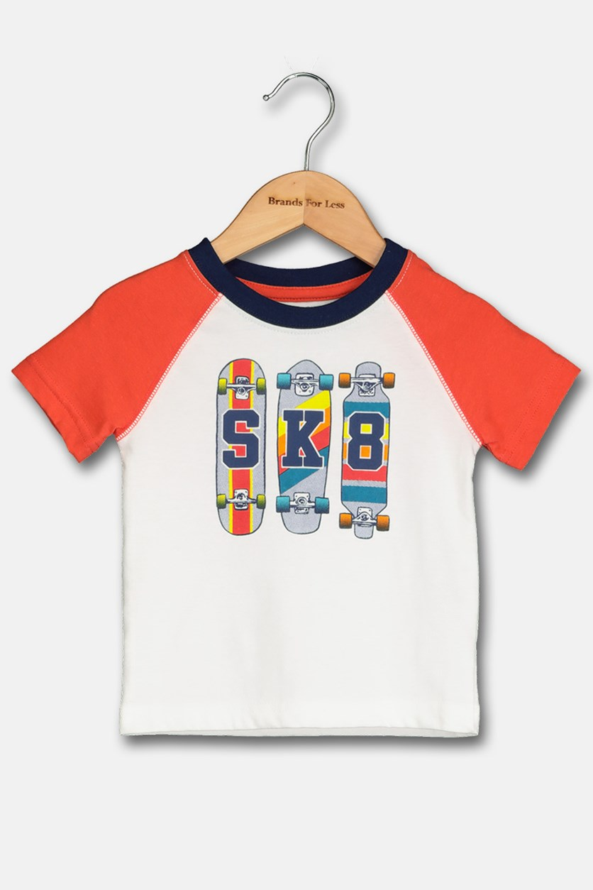 Toddlers Skateboard Print Tee, Orange/White