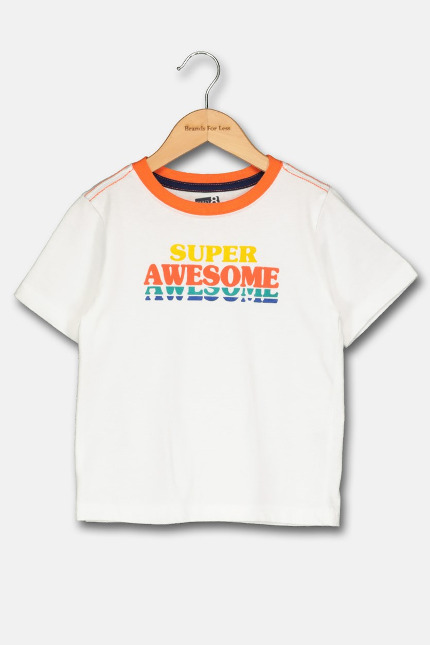 Toddlers Supper Awesome Print Tops, White