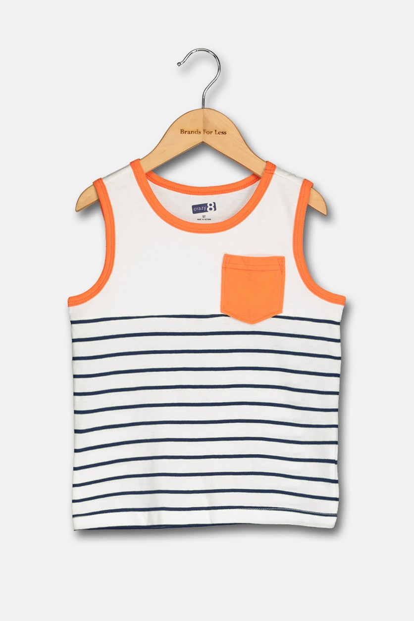 Toddler Boy's Stripped Tee, White/Orange/Navy
