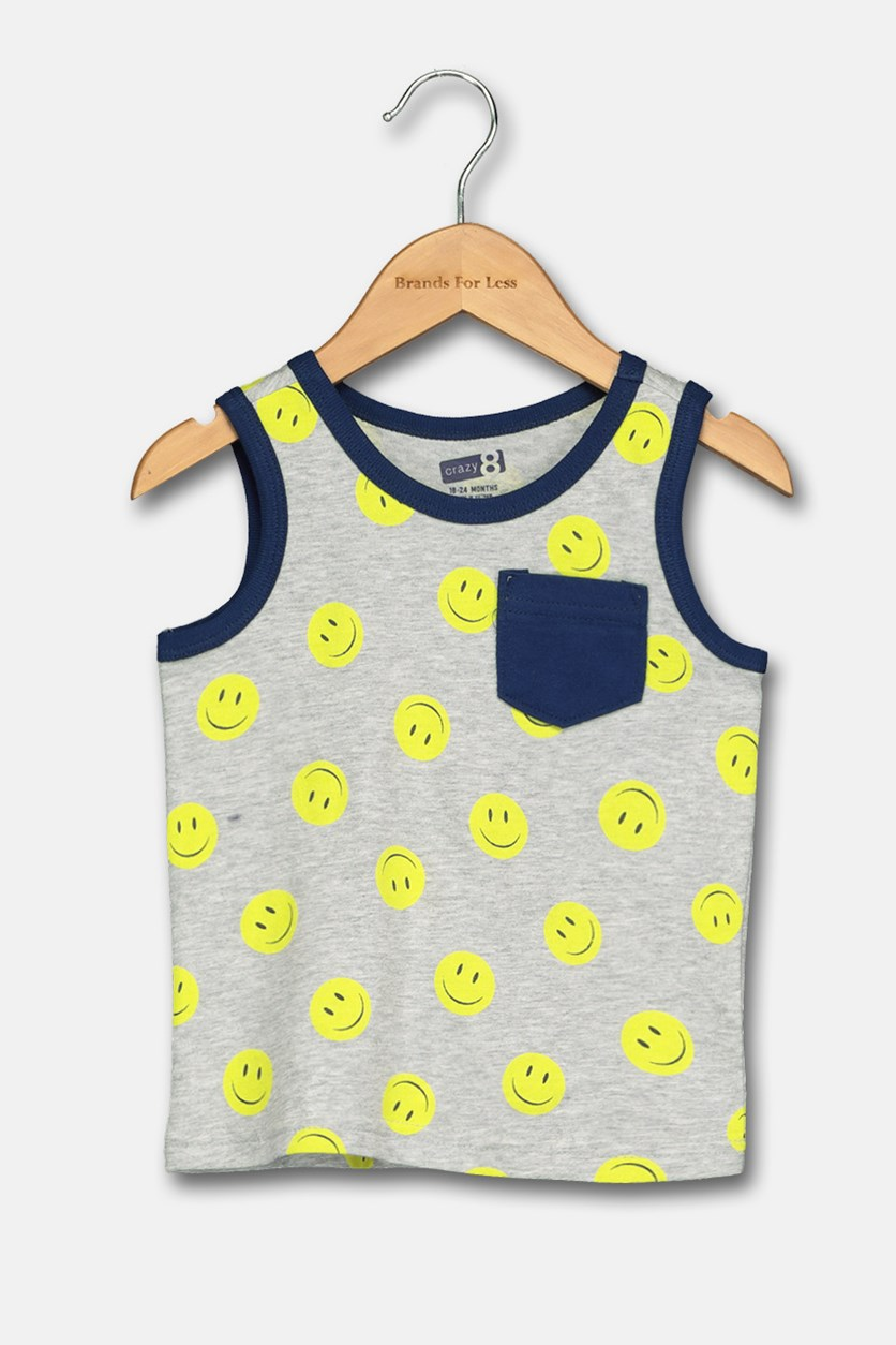 Toddlers Smile Print Tee, Grey/Lime