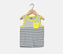 Crazy 8 Toddler Boy's Stripped Tee, Gray/Yellow Green