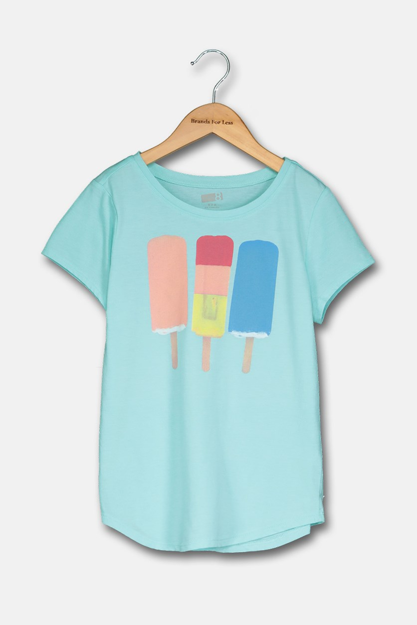 Girl's Graphic Tee, Turquoise