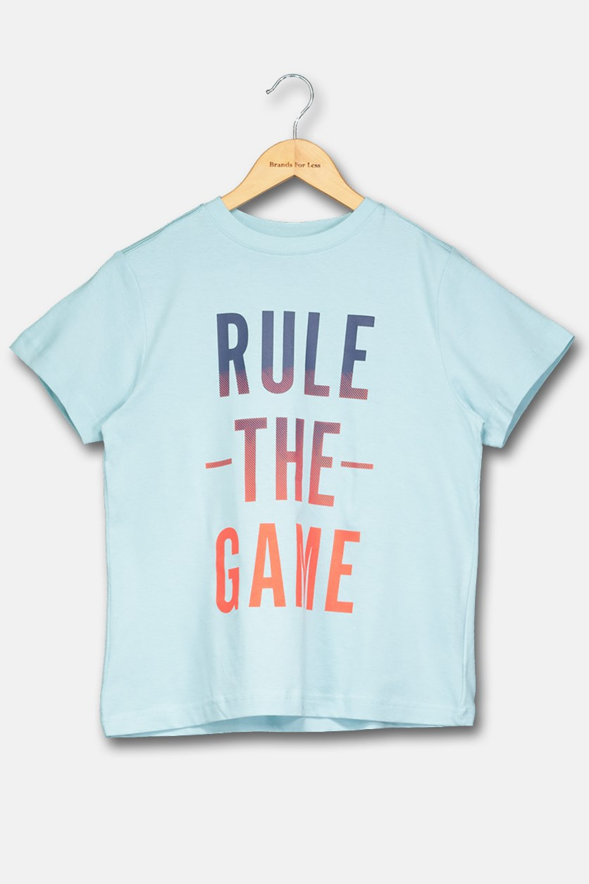 Boy's Rule The Game Print Shirt, Blue/Navy/Red