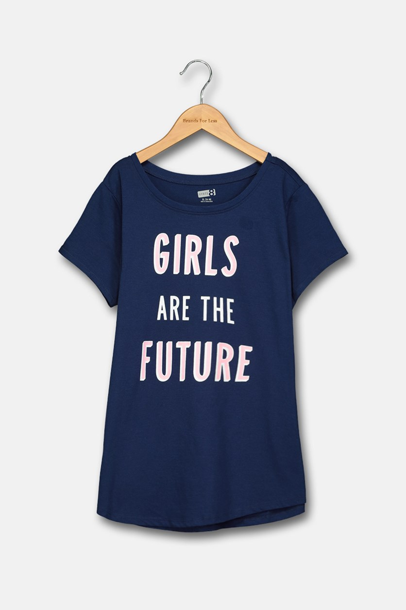 Big Girls Graphic Top, Navy