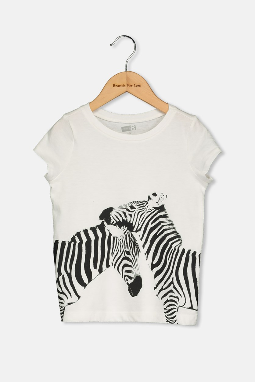 Kids Girls Graphic Tops, White/Black