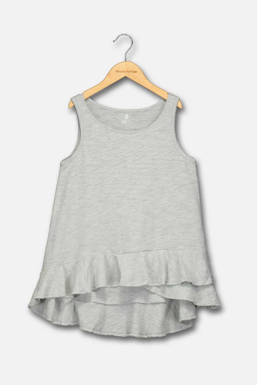 Kids Girls High Low Hem Tops, Grey
