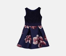 Bcx Girls Plus Lace Floral Fit & Flare Dress, Navy
