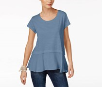 Style & Co Women's Petite Layered-Look Peplum T-Shirt, Blue