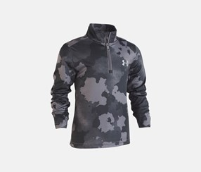 Traverse Camo-Print Zip Shirt, Black/Grey