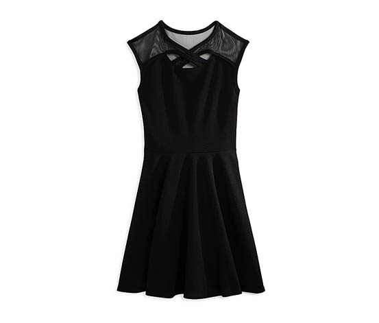 Sally Miller Girl's Crisscross-Strap Textured Dress, Black