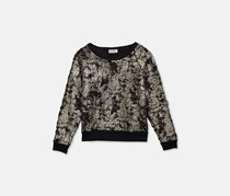 Jessica Simpson Everett Foil Sweatshirt, Black/Whitegold