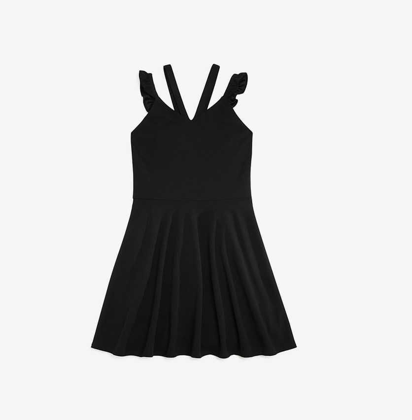 Girls' Vanessa Ruffle-Strap Dress, Black