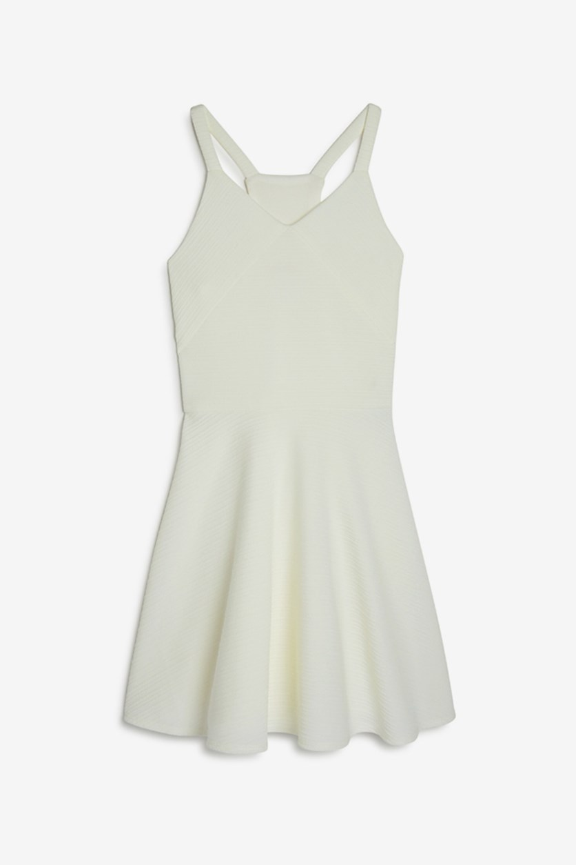 Girls Gia Textured Racerback Dress, Vanilla