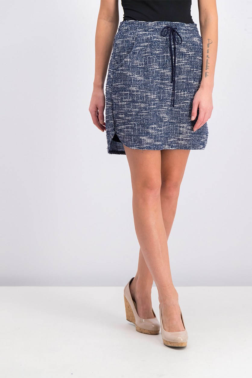 Textured Drawstring Skirt, Blue Combo