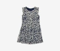 Ralph Lauren Girls Ruffled Floral Chiffon Dress, Navy/Ivory