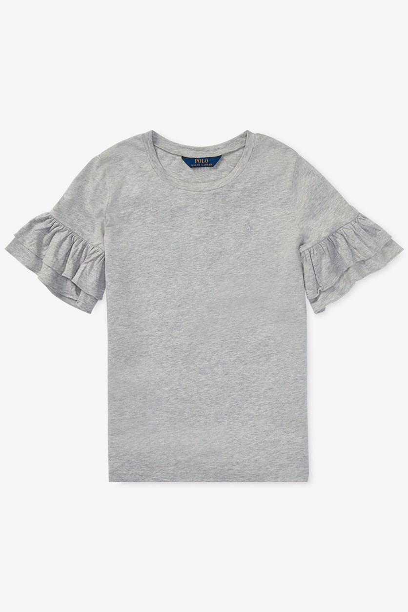 Big Girls Ruffled-Sleeve Crew Tee, Light Grey Heather