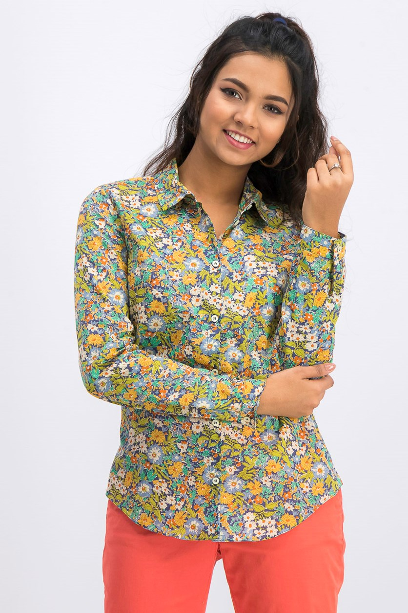 Women's Printed Button Down Shirt, Green/Blue Combo