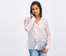 Cacharel Women's Floral Long Sleeve, Pink Combo