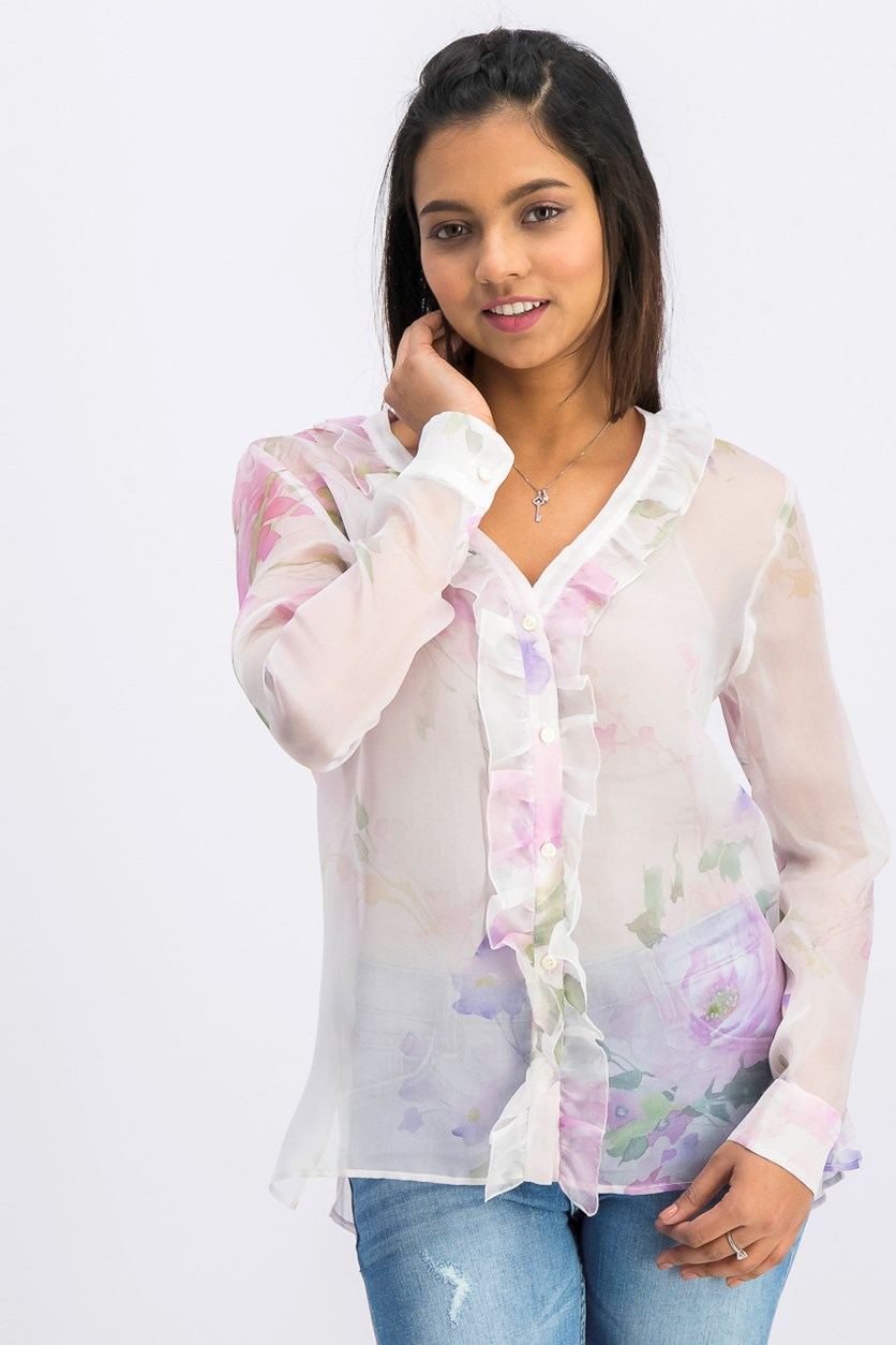 Women's Floral Long Sleeve, Pink Combo
