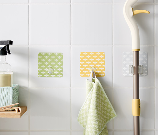 Self Adhesive Wall Hooks And Support, Green/Grey/Yellow