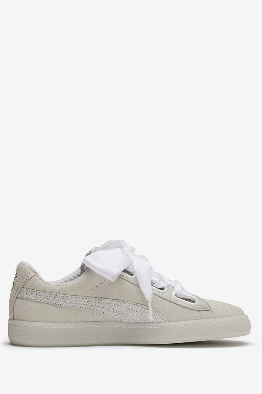Women's Suede Heart Artica Low-Top Sneakers, Off White