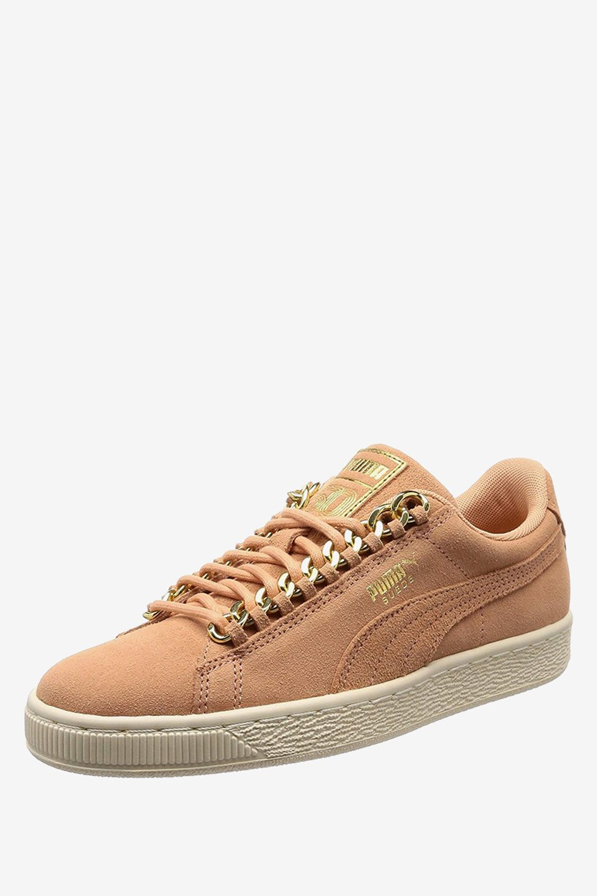 Women's Suede Classic X Chain Shoes, Dusty Coral/Gold