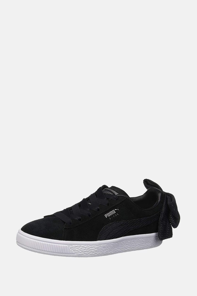 Women's Suede Bow Uprising Shoes, Black/White