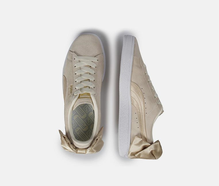Suede Bow Sneakers, Marshmallow/Metallic Gold