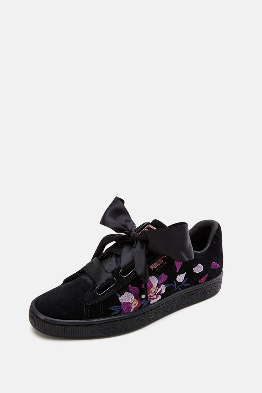 Women's Suede Heart Flowery Shoes, Black