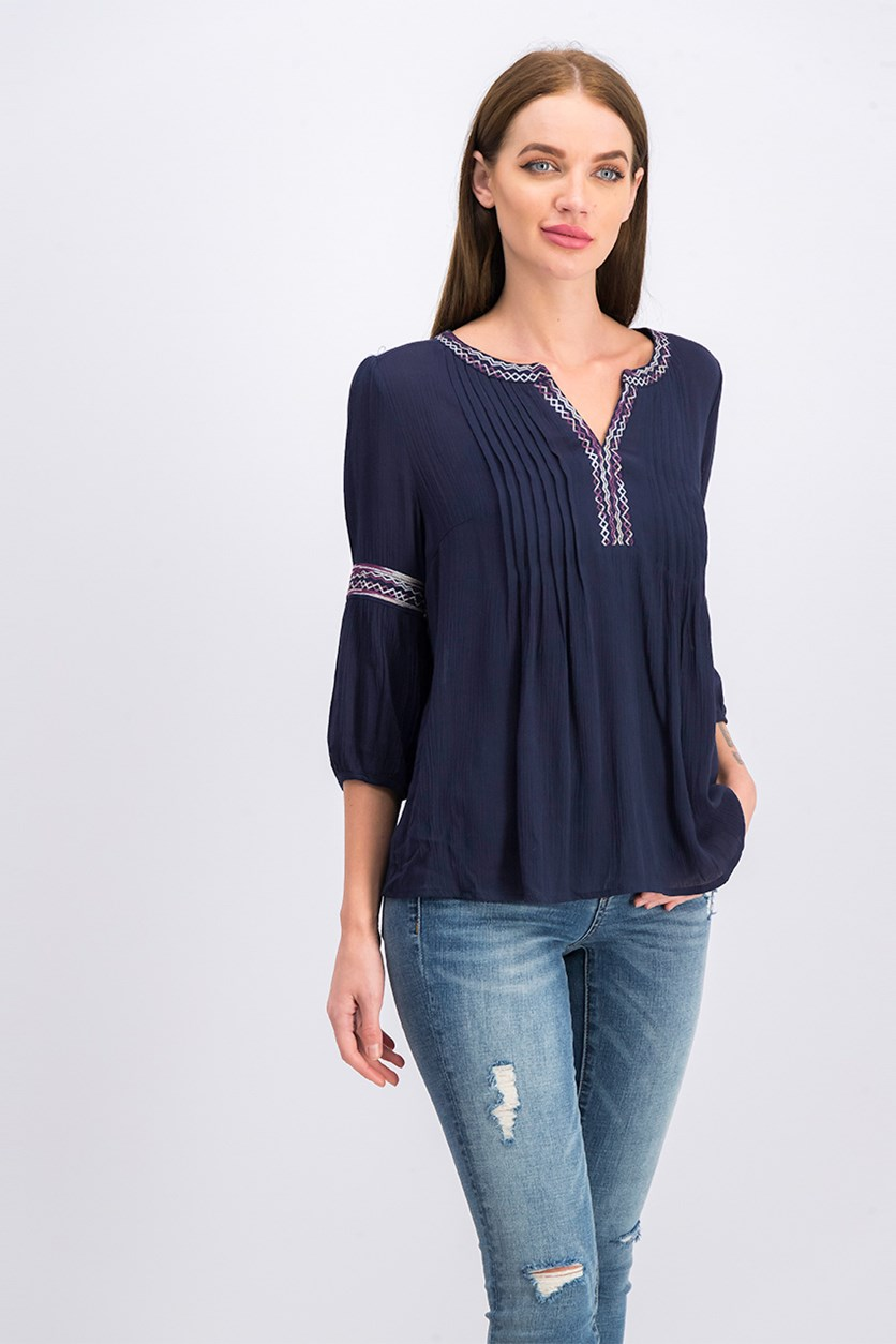 Women Pleated Blouse, Navy