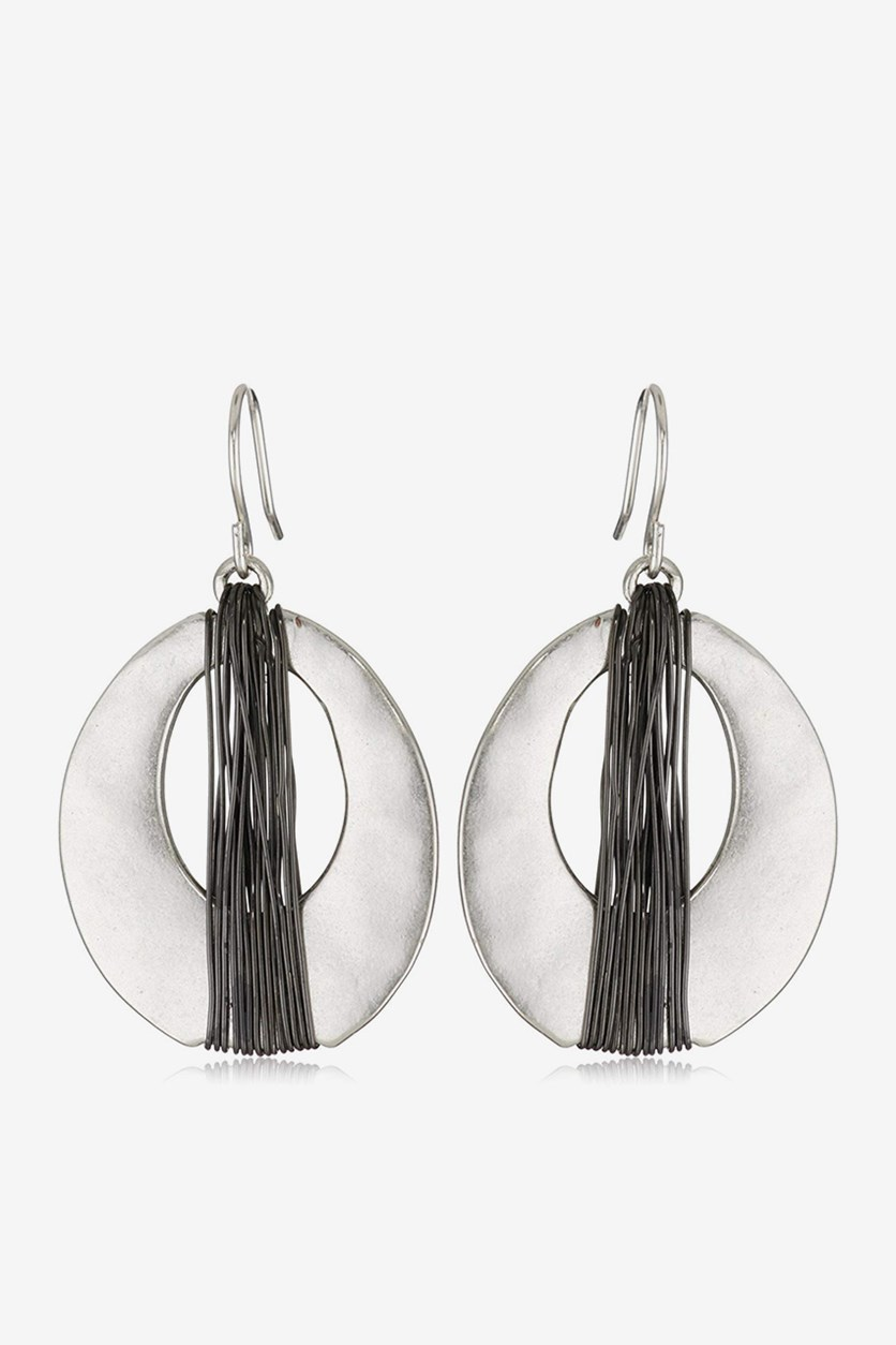 Silver Wire Wrapped Oval Drop Earring, Silver Tone/Black