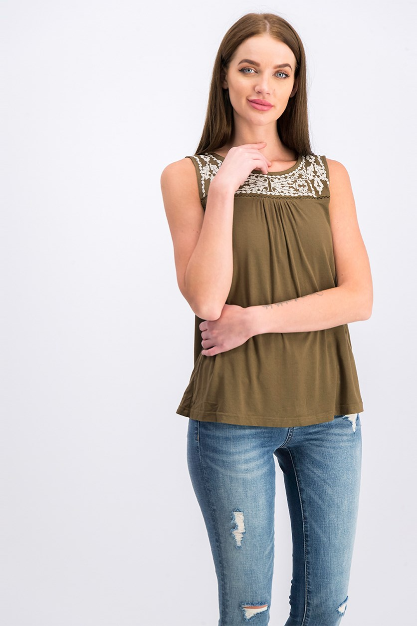 Women Sleeveless Top, Olive