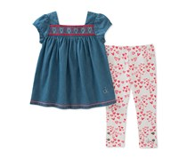 Calvin Klein Toddlers Denim Tunic & Legging Set, Blue/Pink