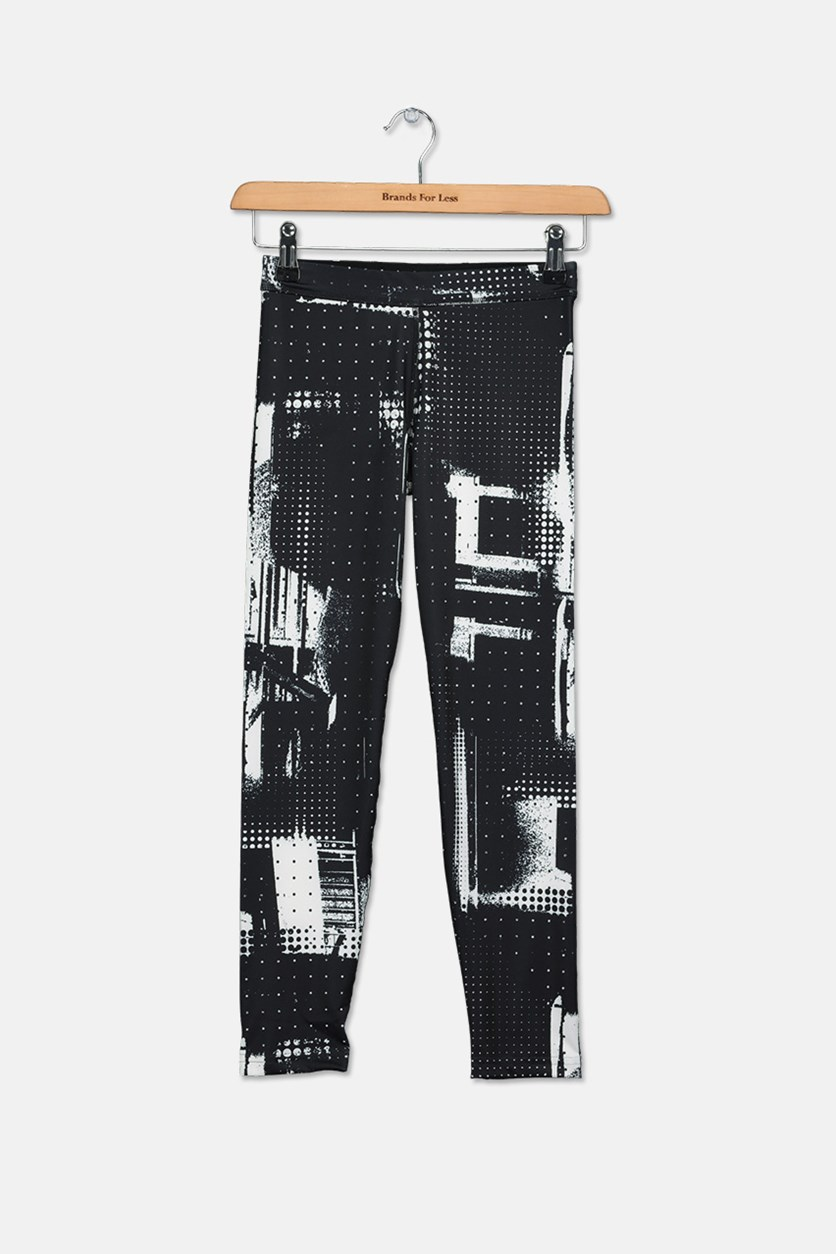 Kids Girls Squad Urban Grid Leggings, Black