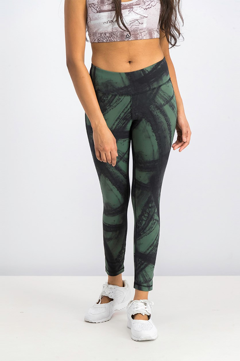 Women's Printed Lux Tight, Olive/Black