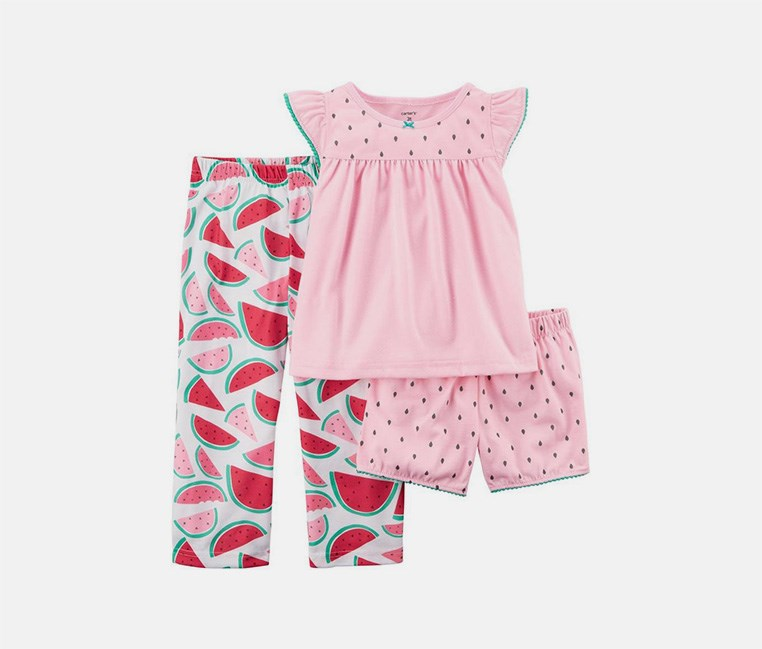 Carter's Little Girl's 3-Piece Sleepwear, Watermelon