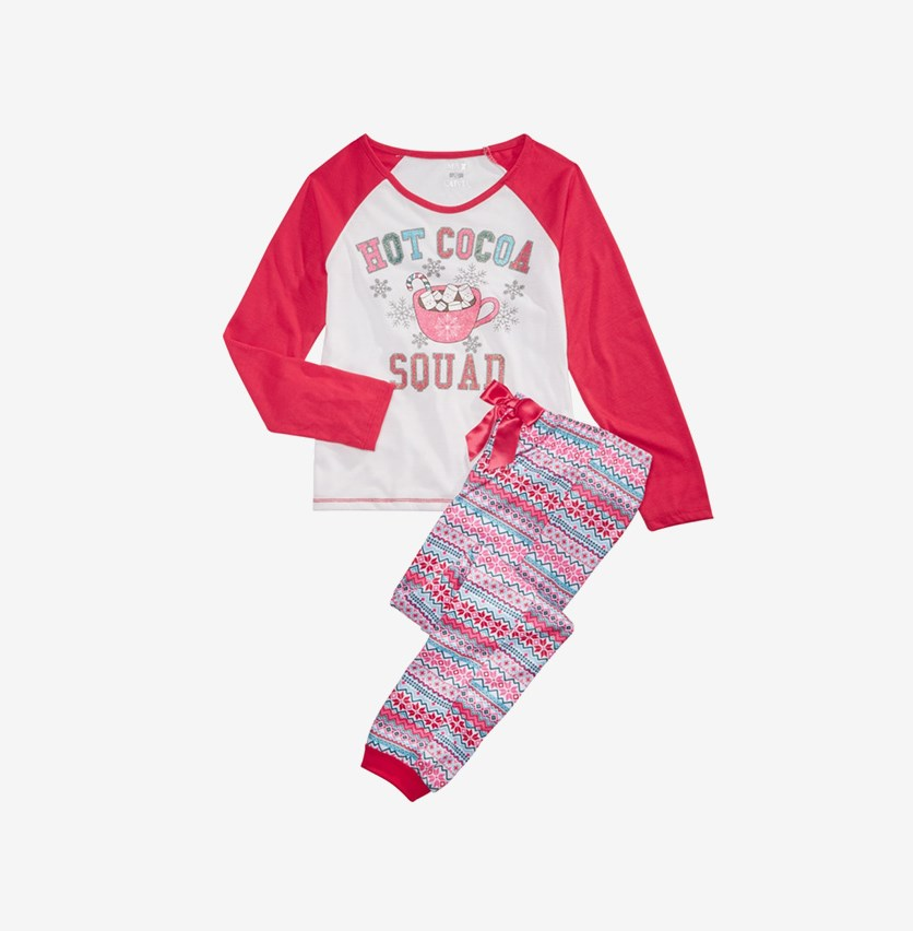 Girls 2-Pc. Hot Cocoa Squad Pajama Set, Red