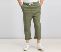 Another Influence Men's  Loose-Fit Cropped Pull-on Pants, Olive