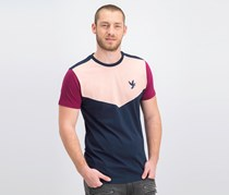 Devote Men's Embroidered Logo Patch Tee, Navy/Pink/Berry