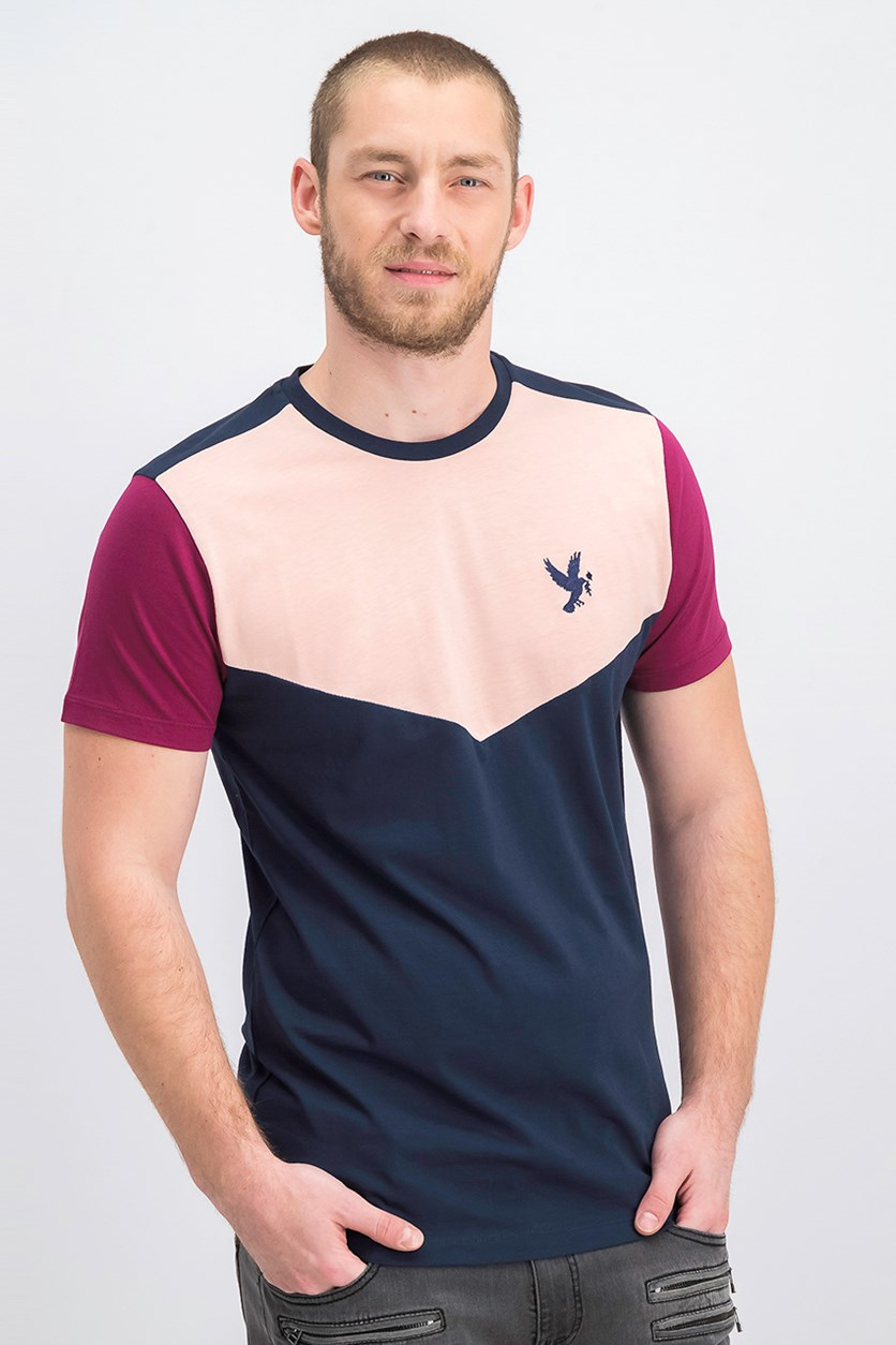 Men's Embroidered Logo Patch Tee, Navy/Pink/Berry
