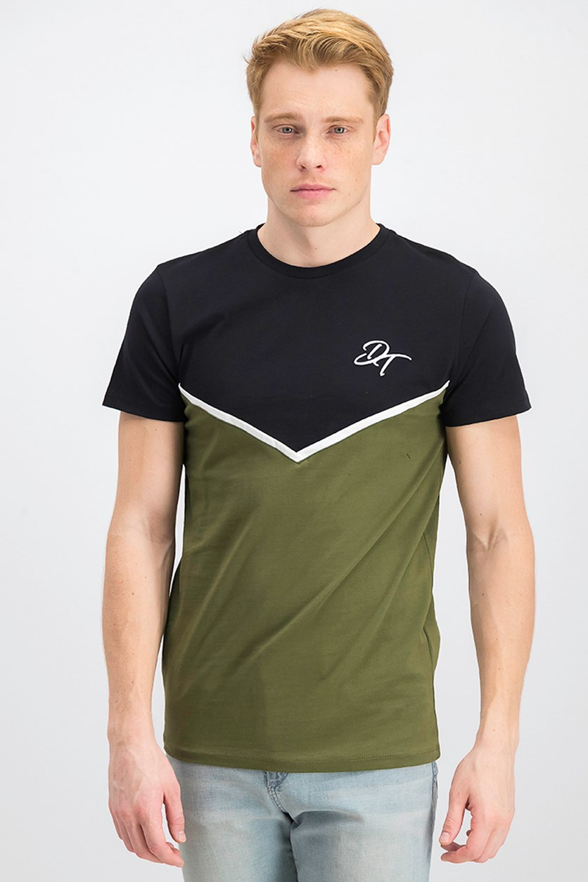 Men's Embroidered Carter Tee, Black/Olive