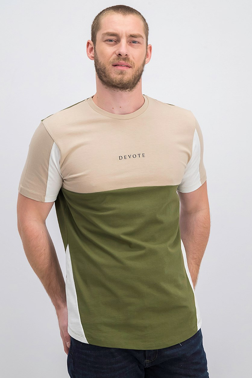 Men's Color-block Cordoba Tee, Nude/Olive/White