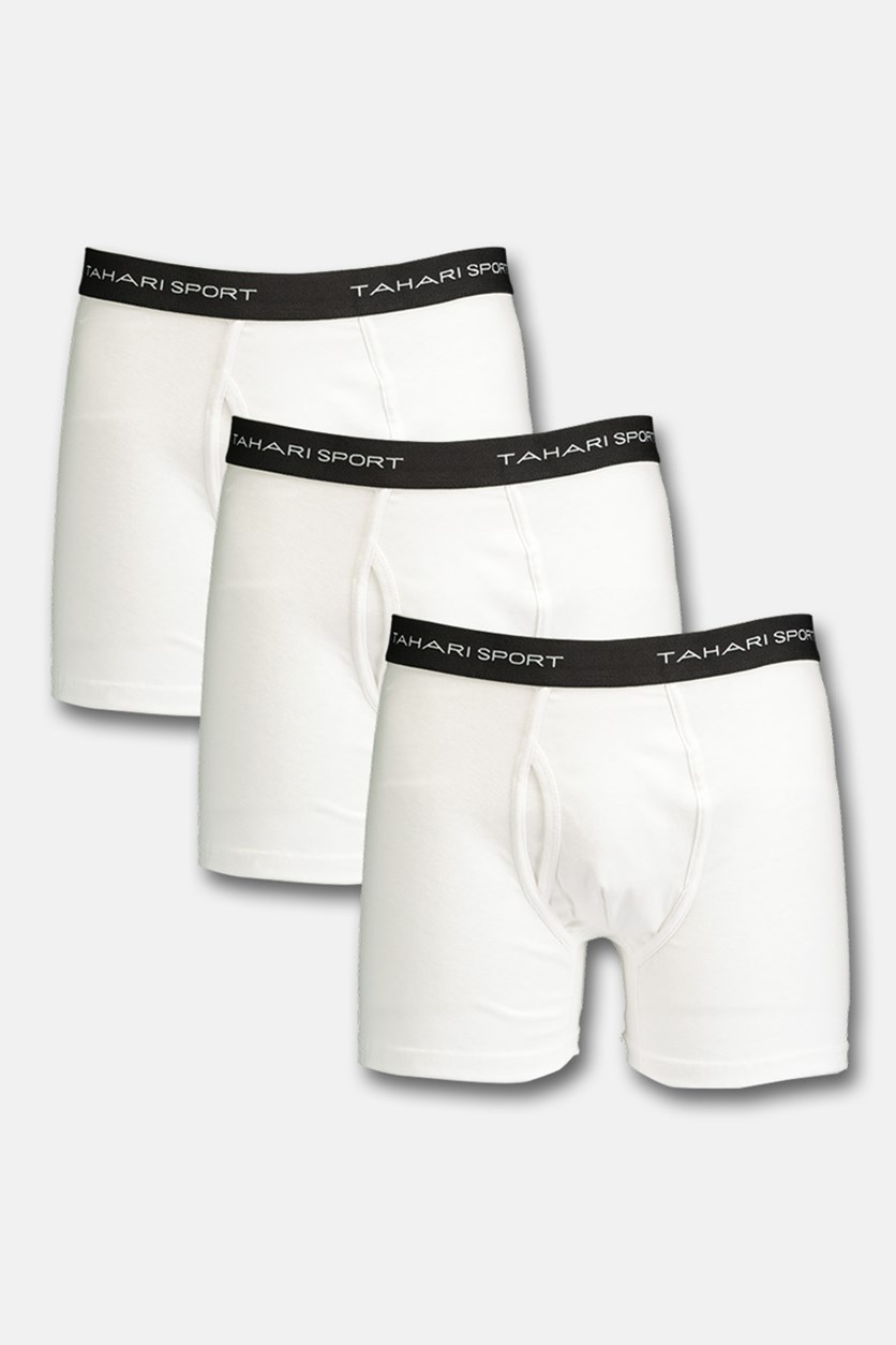 Sport Men's Cotton 3 Trunk, White