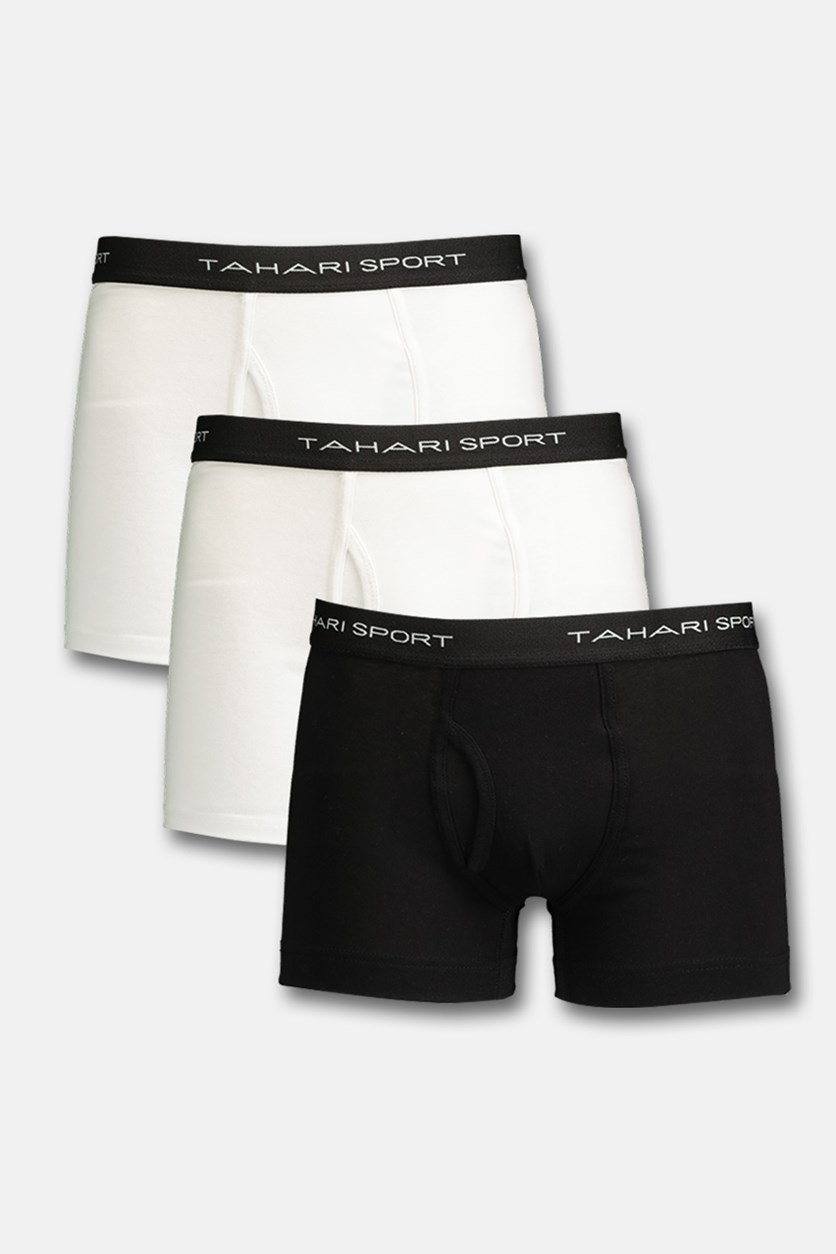 Sports Men's Cotton 3 Trunk, White/Black