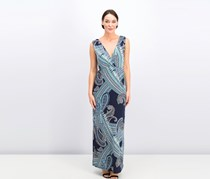 Women's V-Neck Maxi Dress, Blue Combo