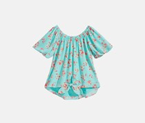 Beautees Floral-Print Tie-Front Top, Aqua
