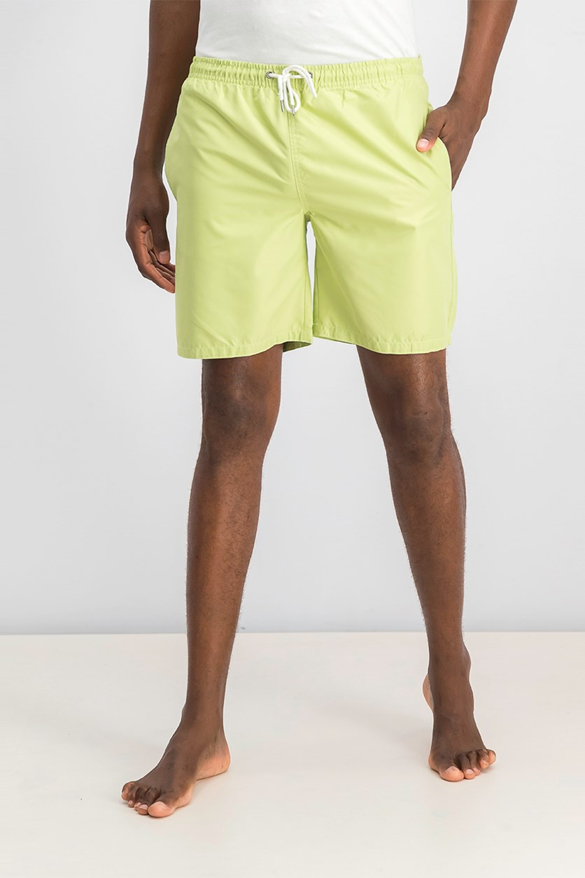 Tahari  Sport Men's Solid Swim Shorts, Lemon Grass